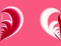 Розовая, красная и белая фракталь валентинки с большим уменьшанным вдвое сердцем на противоположной стороне Стоковая Фотография