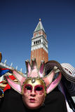 Розовая маска на Венеции Стоковая Фотография