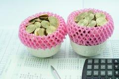 Розовая обернутая сетка пены штабелирует золотые монетки в чашке фарфора Стоковое Изображение RF