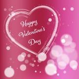 Розовая открытка дня валентинки Стоковая Фотография