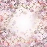 Розовая пастель цветет предпосылка, флористическая граница Стоковое фото RF