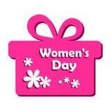 Розовая подарочная коробка с белыми цветками на Международный женский день r иллюстрация вектора