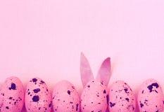Розовая предпосылка пасхи, граница яичек Стоковая Фотография