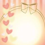 розовая предпосылка ленты и сердец Стоковые Изображения RF
