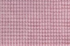 Розовая предпосылка от мягкого ворсистого конца ткани вверх Текстура макроса тканей Стоковые Изображения