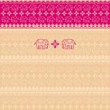 Розовая предпосылка сари индийских слонов Стоковые Фото
