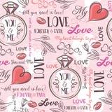 Розовая предпосылка с сердцем валентинки, цветком, обручальным кольцом бесплатная иллюстрация