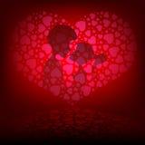 Розовая предпосылка с 2 любовниками Стоковые Фото