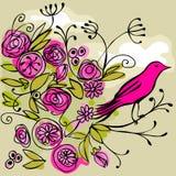 Розовая птица на цветистой ветви иллюстрация штока