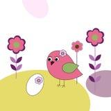 Розовая птица с яичками и цветками иллюстрация штока