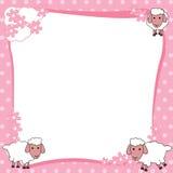 Розовая рамка границы с милыми овцами Стоковое Фото
