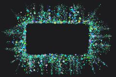 Розовая рамка от розового confetti на черной предпосылке Романтичная предпосылка с местом текста Текстура confetti партии с экзем иллюстрация вектора