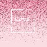 Розовая рамка от розового confetti Романтичная предпосылка с местом текста бесплатная иллюстрация