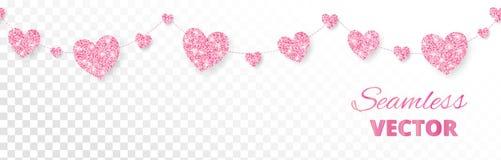 Розовая рамка сердец, безшовная граница Яркий блеск вектора на белизне Стоковые Изображения RF
