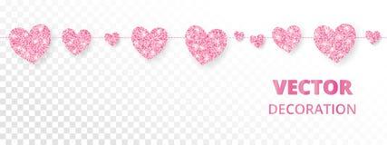Розовая рамка сердец, безшовная граница Яркий блеск вектора на белизне Стоковые Фотографии RF