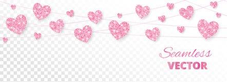Розовая рамка сердец, безшовная граница Яркий блеск вектора изолированный на белизне Стоковое Изображение