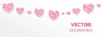 Розовая рамка сердец, безшовная граница Яркий блеск вектора изолированный на белизне Стоковые Фото