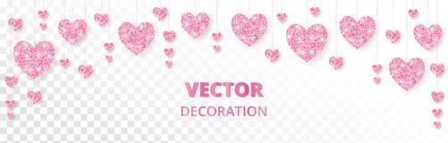 Розовая рамка сердец, граница Яркий блеск вектора изолированный на белизне На карточки день валентинки и матерей, wedding приглаш Стоковые Фото