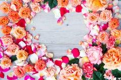 Розовая рамка формы сердца цветков на деревянной предпосылке Плоское положение, взгляд сверху Валентайн предпосылки s Стоковое фото RF