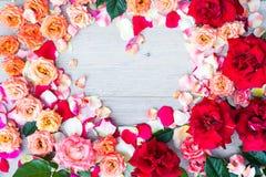 Розовая рамка формы сердца цветков на деревянной предпосылке Плоское положение, взгляд сверху Валентайн предпосылки s Стоковая Фотография