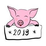 Розовая свинья со знаком бесплатная иллюстрация