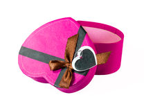 Розовая Сердц-форменная коробка Стоковая Фотография RF