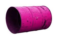 Розовая старая ржавчины масла бочонка изолированная на белой предпосылке Стоковое фото RF