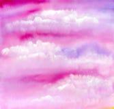 Розовая текстура неба и облаков Стоковое Фото