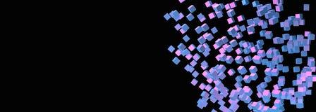 Розовая фиолетовая и голубая предпосылка кубов с иллюстрацией космоса 3D экземпляра Стоковое Фото