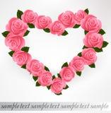 Розовая форма сердца роз. Вектор Стоковые Изображения
