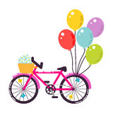 Розовая girlish иллюстрация вектора велосипеда подарка Стоковая Фотография