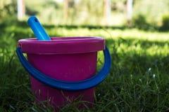Розовое ведро и голубой лопаткоулавливатель в траве стоковая фотография rf