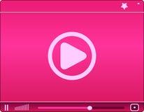 Розовое видео-плейер. Значок. иллюстрация вектора Стоковые Фото