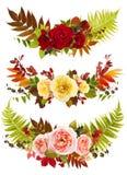 Розовое искусство зажима букета цветка с одиночными листьями Стоковая Фотография