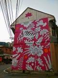 Розовое искусство улицы тигра Стоковые Изображения