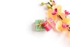 Розовое и зеленое мыло на цветах предпосылки Стоковое Изображение RF