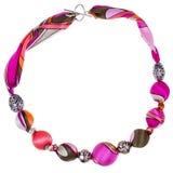 Розовое и коричневое ожерелье шелка и металлического шара Стоковые Изображения