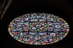 Розовое окно церков Нотр-Дам, Дижона, Франции Стоковые Изображения