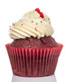 Розовое пирожное на белой предпосылке Стоковое Изображение