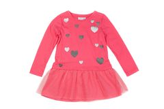 Розовое платье младенца Изолят на белизне Стоковая Фотография RF