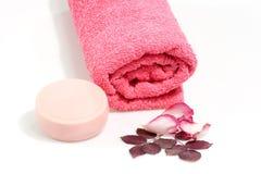розовое полотенце Стоковые Изображения