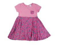 Розовое платье младенца, изолят стоковое фото rf
