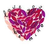 Розовое сердце вектора от листьев Полюбите вас, мои Стоковые Изображения RF