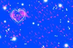 Розовое сердце на голубой предпосылке Стоковое фото RF