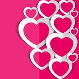 Розовое backround с сердцами на день ` s валентинки Стоковое фото RF