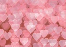 Розовое bokeh сердца Стоковое Изображение