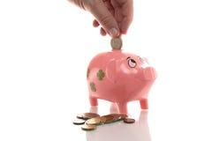 Розовое pigg денег с евро Стоковая Фотография