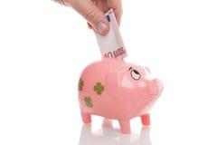 Розовое pigg денег с евро Стоковая Фотография RF