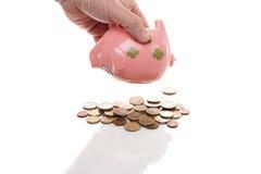 Розовое pigg денег с евро Стоковое фото RF