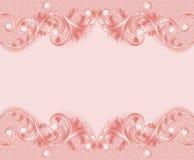 розовой предпосылки с орнаментом и жемчугами Стоковые Изображения RF